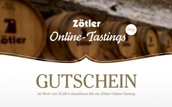 Gutschein im Wert von 35 € für ein Zötler Online-Tasting